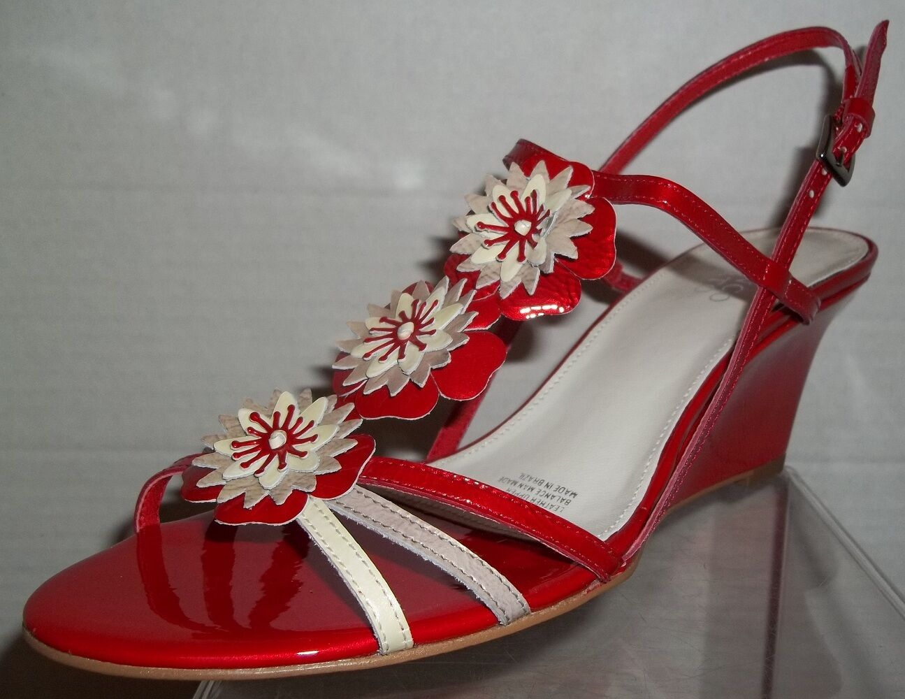 Franco Sarto  Size 8 Coral Red Patent Leather Strappy Pumps Womens shoes NIB