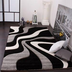 Black White Grey Rug Modern Living Room Carpet Mat Abstract Pattern Thick Mat Ebay