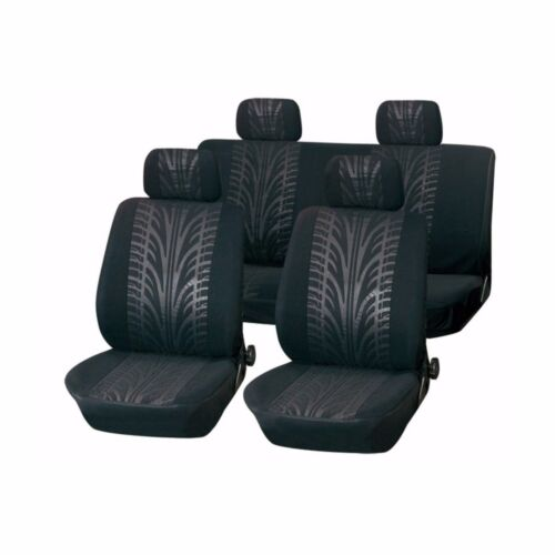 Sports Road Racing Tyre Print Grey Universal Car Seat Covers 9 Piece Front//Rear
