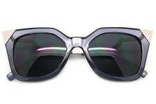 Cat Eye Sunglasses Metal Pointy Edges Transparent Frame Dark Lens Women Fashion