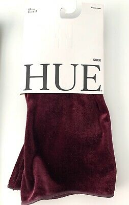 BRAND NEW Hue Ladies Velvet Ankle Socks in Currant Purple One Size Fits All