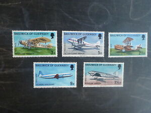 GUERNSEY-1973-AEROPLANES-SET-5-MINT-STAMPS