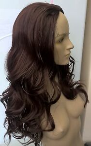 dark brown wavy curly 34 half head long hair wig on half cap fancy dress new - Slough, United Kingdom - dark brown wavy curly 34 half head long hair wig on half cap fancy dress new - Slough, United Kingdom