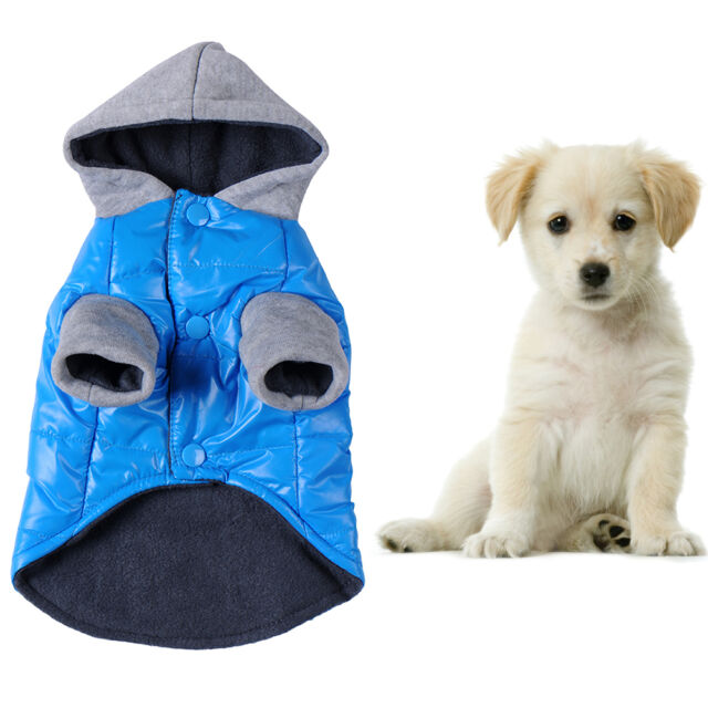 Pet Dog Winter Warm Apparel Clothes Dog Hoodie Jacket Puppy Down Coat Blue XS-XL