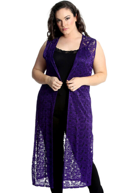 New Womens Plus Size Cardigan Ladies Floral Lace Open Front Sleeveless Top Tunic