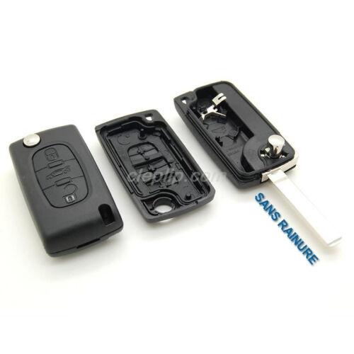 Coque Télécommande plip clé Peugeot  compatible 407 3 bouton CE0536 sans rainure