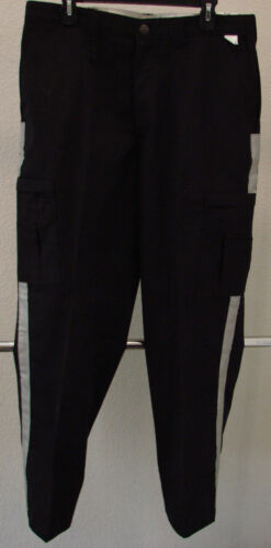 NEW Mens Dickies Cargo Pants Black Silver Reflective Stripe Size 36 X 33 Uniform