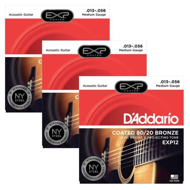 D/'Addario EXP12 80//20 Bronze Acoustic Guitar Strings Coated Medium 13-56