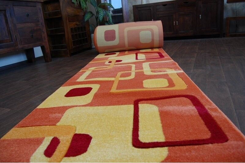 Coureur tapis, focus F240 largeur orange, moderne, escaliers largeur F240 70 cm - 120 cm extra long 063f46