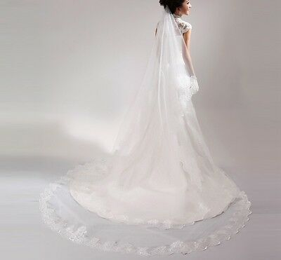 3m/4m/5M white ivory wedding Cathedral veil bridal party prom lace edge Mantilla
