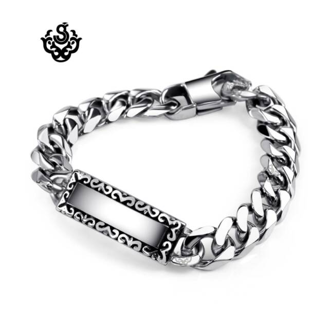 Silver bracelet stainless steel mens chain 200mm name tag