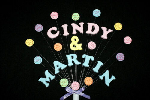 Double name Engagement or Wedding love heart sweets Celebration  Cake Topper.