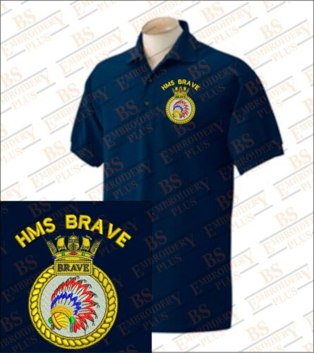 Details about  /HMS BRAVE Embroidered Polo Shirts