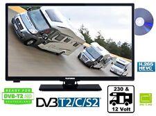 "Telefunken 12 Volt 230V HD TV Fernseher 24"" 61cm DVB-T2/-C/S2 DVD-Player Camping"