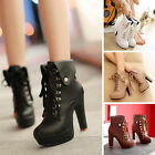 Lady New Winter High Heel Booties Lace-Up Shoes Stiletto Plush Lined Ankle Boots