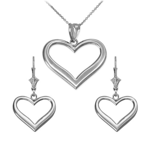 Polished Sterling Silver Open Love Heart Pendant Necklace & Matching Earrings