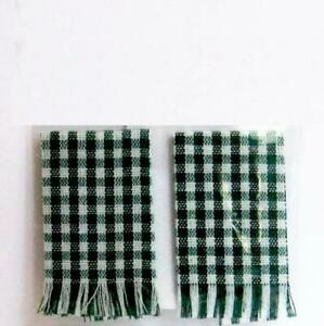 Lot of 2 Red Check Folded Kitchen Towels Dollhouse Miniature