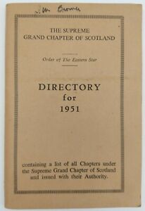 """Vintage Masonic Book """"THE SUPREME GRAND CHAPTER OF SCOTLAND DIRECTORY FOR 1951"""""""