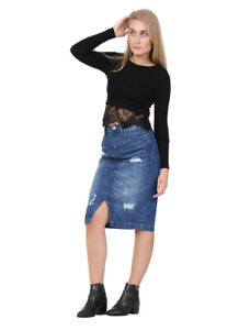 innovative design 1b296 01d7b Dettagli su Gonna di Jeans Midi - dettaglio abrasione Gonna Denim alla moda