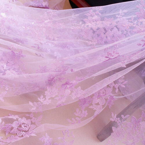 1M Lace Fabric Tulle Sheer Floral Embroidered Wedding Bridal Dress Costume Cloth