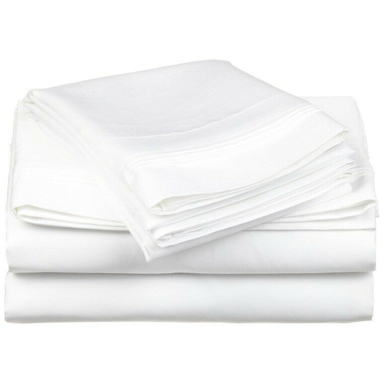 4-pc Olympic Queen 100% Egyptian Cotton White Sheet Set Triple Pleated Hem