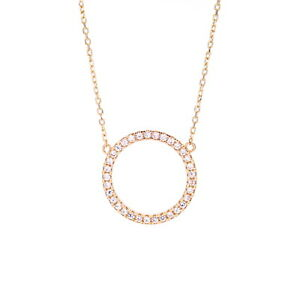 04f6c97456b1b Details about 0.15CT Created Diamond Eternity Open Circle Necklace 14K  Solid Rose Gold 16