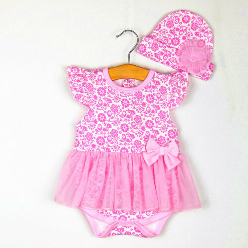 2pcs Girl Baby Newborn Cap Hat+Romper Bodysuit Jumpsuit Tutu Clothes Set Outfit
