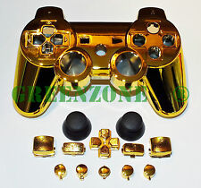 Replacement PS3 Chrome Gold Controller Shell Mod Kit + Matching Buttons Kit