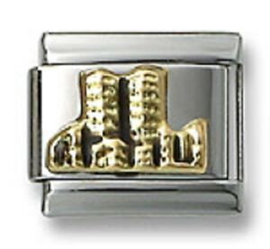 New-18k-Italian-Charm-Gold-Twin-Towers-9mm-Bracelet-Modular-Link-Christmas-Gift