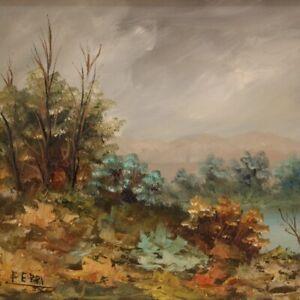 Quadro firmato dipinto olio su tavoletta paesaggio stile impressionista cornice