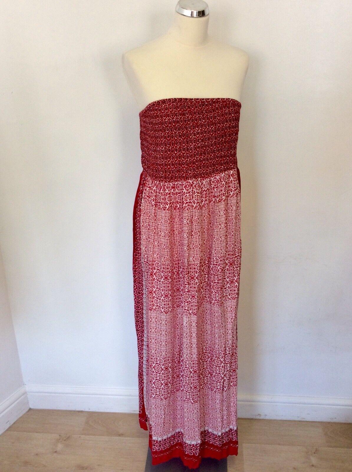 MONSOON RED & WHITE PRINT STRAPLESS MAXI DRESS SIZE L