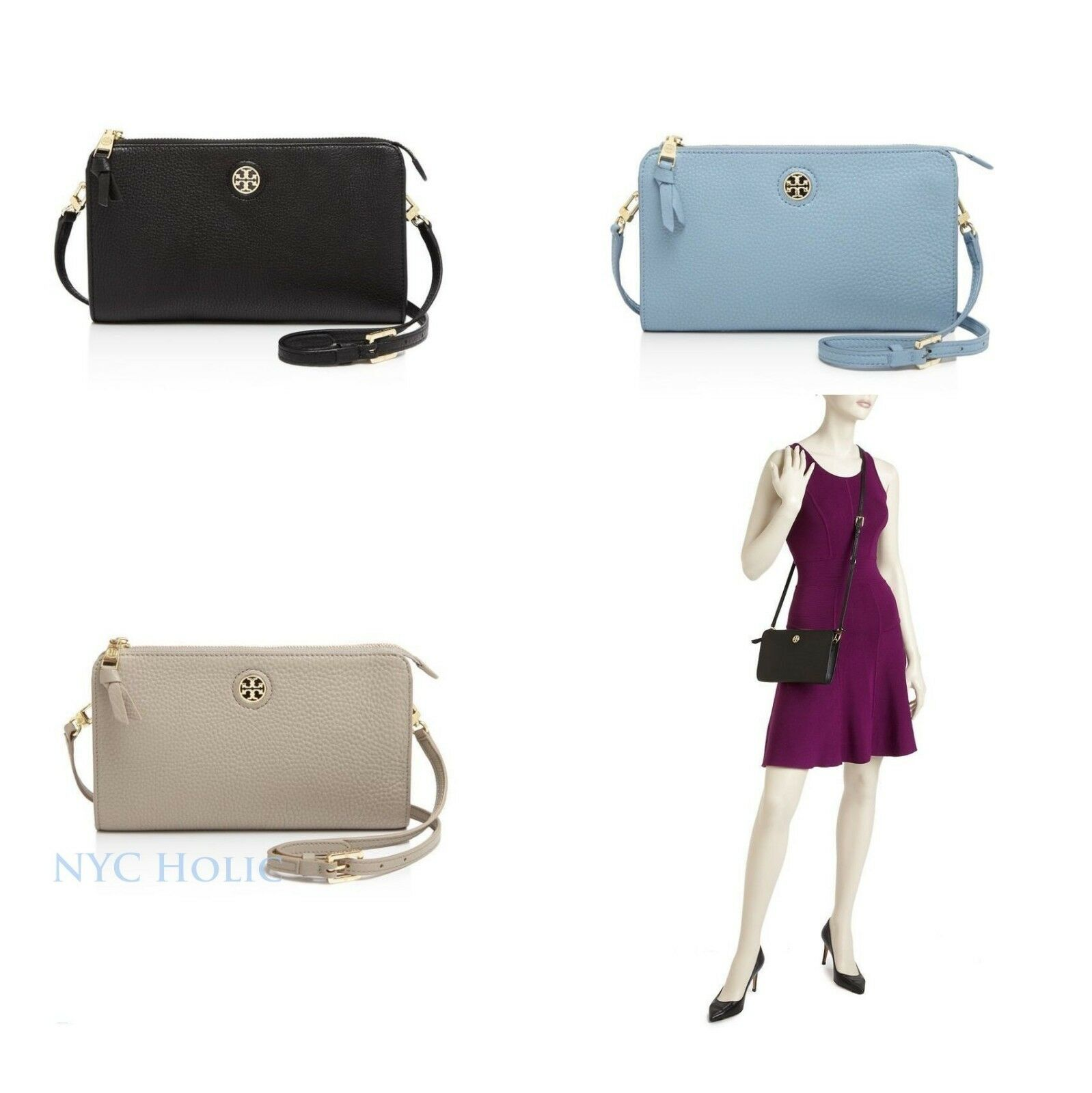 4c9bc8134e6 Details about New Tory Burch Brody Pebbled Wallet Crossbody Clutch