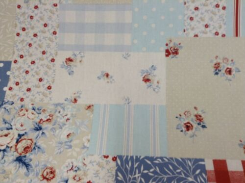 Vintage Patchwork  Blue By Fryetts Fun design Cotton  Curtain//Craft Fabric