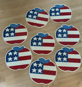 Set-Of-8-American-Flag-Apple-Shaped-Vinyl-Placemats-Americana-Table-Decor