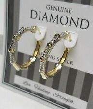 Genuine Diamond Hoop Earrings 18k Gold Genuine 925 Sterling Silver