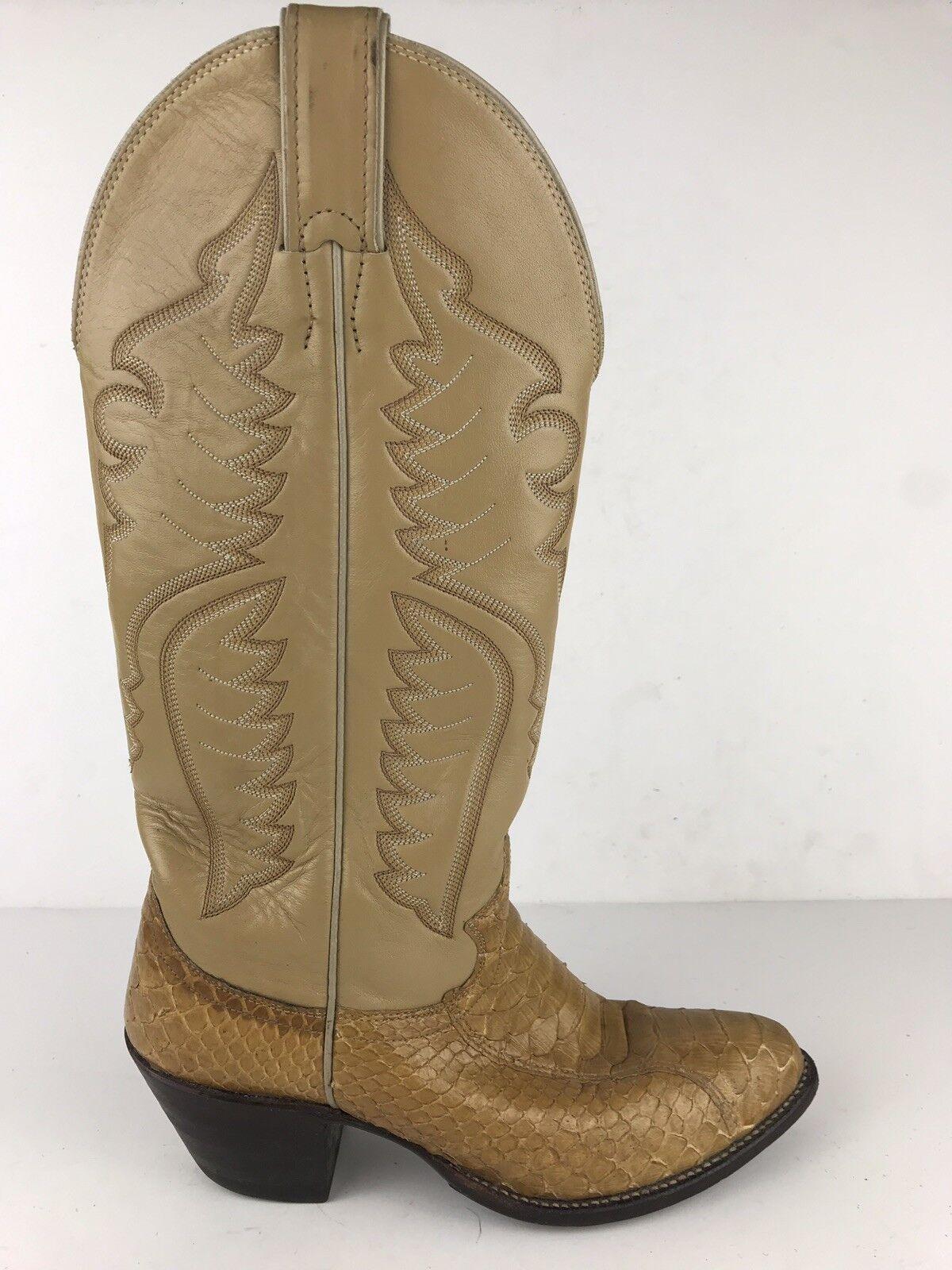 Justin stivali Wouomo 6.5 B Python Snake Skin Leather Coloree Blonde Cowboy Western