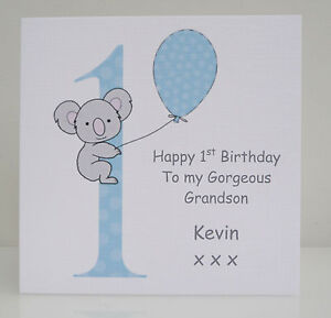 Image Is Loading Personalised Boys 1st Birthday Card Son Grandson Nephew