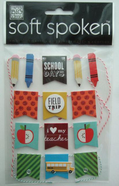 ~SCHOOL DAYS~ Soft Spoken Dimensional Embellishment Stickers; BANNERS, teacher