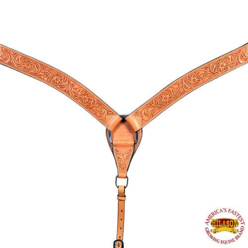 U-1-BC hilason Western American Leather Horse Breast collar Tan Floral