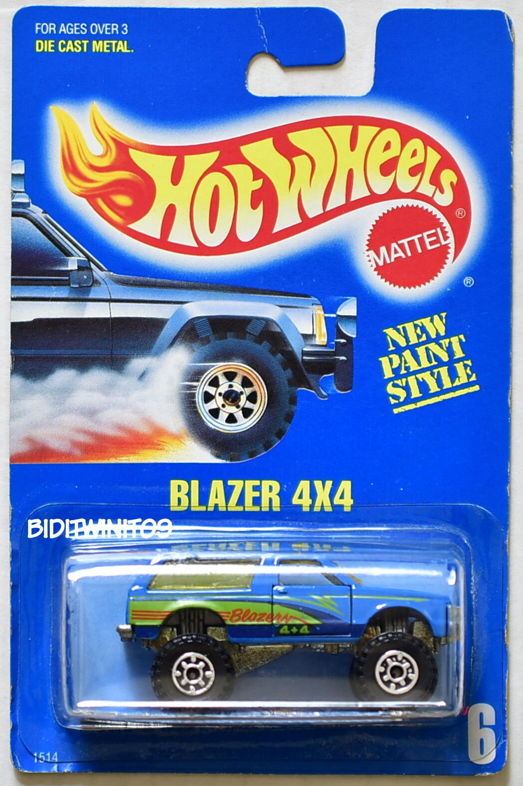 HOT WHEELS WHEELS WHEELS 1989 blueE CARD BLAZER 4X4 W  GEAR WHEELS VARIATION 08 W+ d9d505