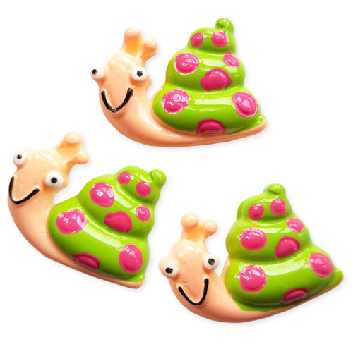 3pcs Cute Green Snail Flatback Resin Cabochon Decoden Embellishment Kawaii Craft