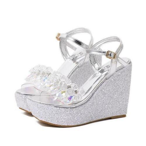 Sweet Womens Crystal Wedge High Heels Platform Sandals Wedding Party Shoes