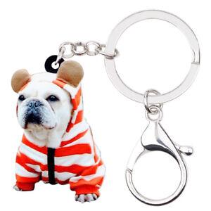 578991838ba Acrylic Sweet French Bulldog Pug Dog Keychain Ring For Women Teen ...