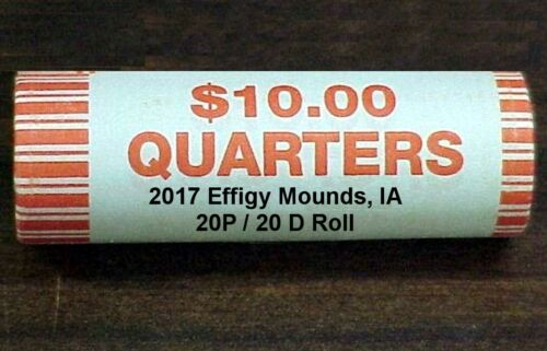 2017 EFFIGY MOUNDS IA ROLL 20P//20D BU coins ** IN STOCK ** 40 coins