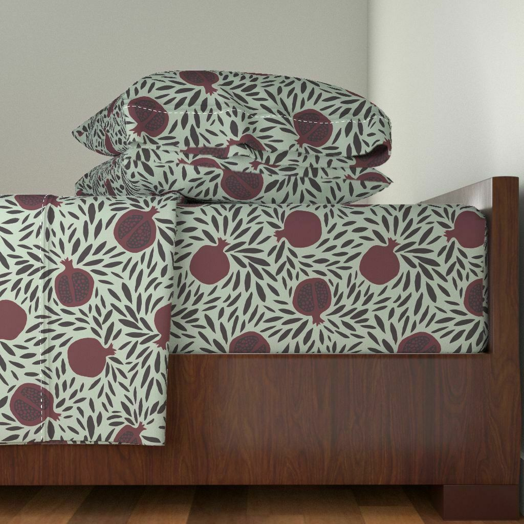 PomeGrünates PomeGrünates PomeGrünates 100% Cotton Sateen Sheet Set by Roostery