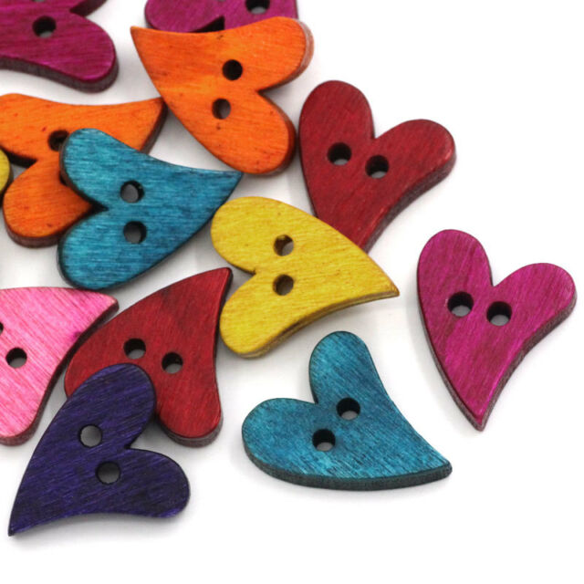 "100pcs Wood Sewing Buttons Scrapbooking Heart Love 2 Holes Mixed 7/8""x 5/8"""