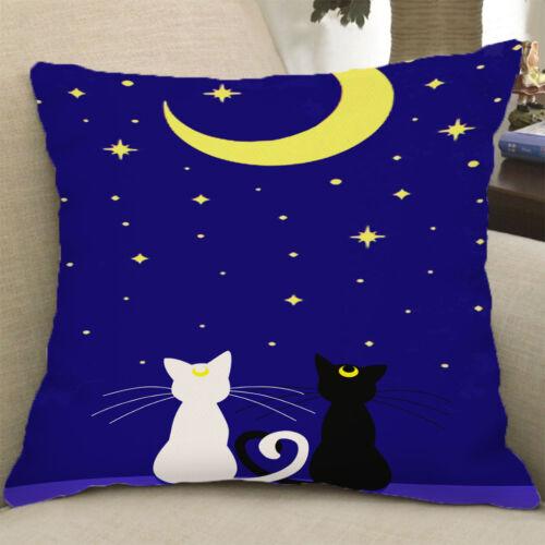 Home Decor Pillow Case Cushion Cover Throw Black White Cat 45x45cm