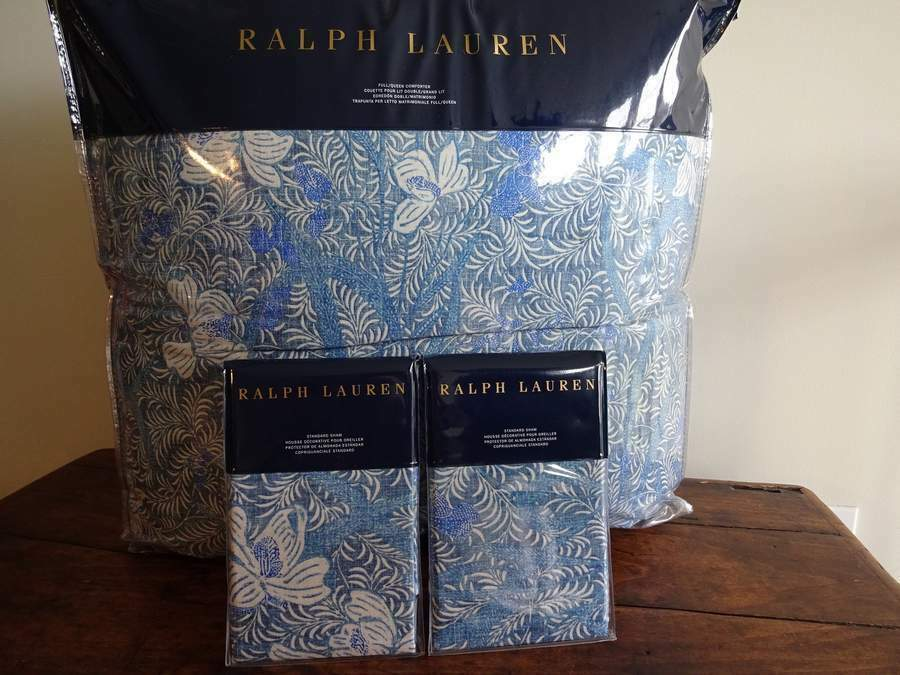 RALPH LAUREN MEADOW LANE Coastal blueE FLORAL Full QUEEN COMFORTER Sham SET 3PC