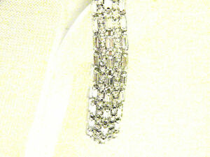 Spectacular-5-Row-Rhinestone-Vintage-Bracelet-Baguettes-Rounds-Rhinestones-Bride