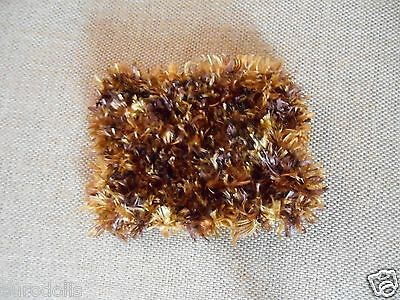 """Mini Hand knitted Blanket-rug 5in x 4"""" gold-brown fuzzy for small ooak baby doll"""